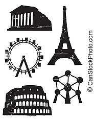 Grunge_famous_european_buildings - Silhouetts of Famous...