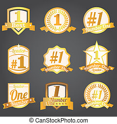 Vector badges certificates Number 1 - Vector badges,...