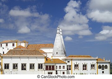 Sintra - exterior view of the National Palace of Sintra,...