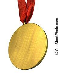 Golden Medal with Red Ribbon Isolated on white