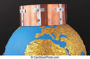 crown - A crown from copper with crosses on a golden globe