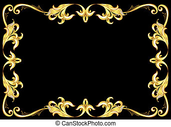 Abstract Gold Frame Illustration on black background for...