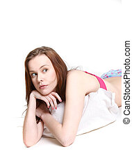 studio shot of young upset woman in lingerie
