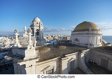 Cadiz - view of the cathedral of Cadiz, Andalusia, Spain