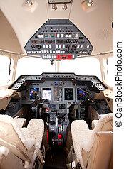 Private jet cockpit controls
