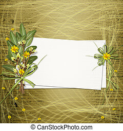 Card for invitation or congratulation with bunch of flowers...