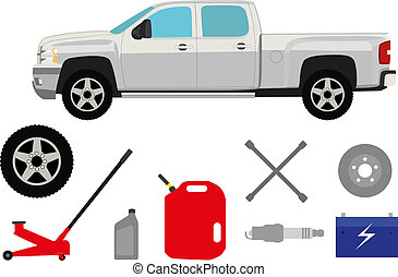 Pick-up truck with group of repair shop elements