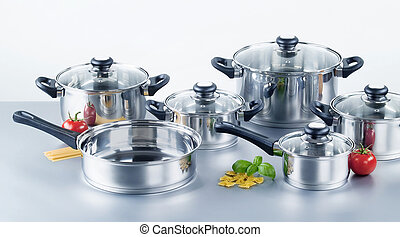 Stainless steel pots and pans - Set of stainless steel pots...