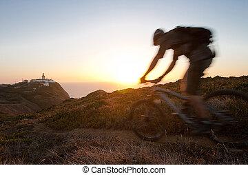 Mountain biker - Mountain bike rider in sunset