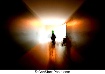 people in tunnel  - people in dark tunnel
