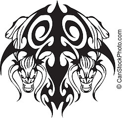 Bull in tribal style - Black and white image bull in tribal...