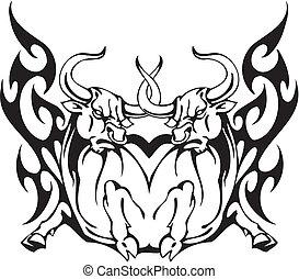 byk, plemienny, styl, -, Wektor, wizerunek