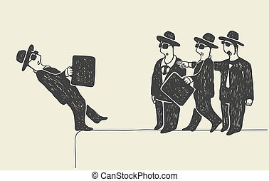Falling down - Businessman falling down Three businessmen...