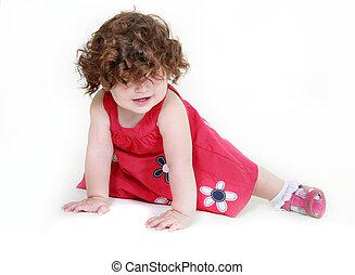 cute toddler girl over white
