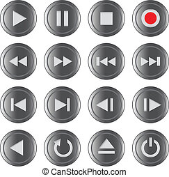 Multimedia control iconbutton set - Multimedia control grey...