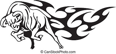 Bull in tribal style - vector image - Black and white image...