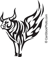 Bull in tribal style - vector image. - Black and white image...