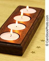 tea light candles - Candles tea light in wooden holder