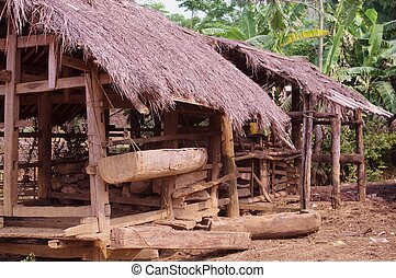 Stable ethnic Hmong - A barn on a farm in northern Vietnam....