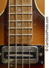 Strings and Frets on Electric Bass