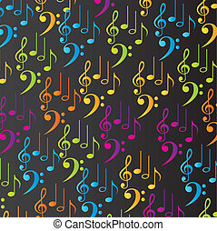 music background - colorful musical notes over black...