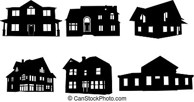 houses - set of house silhouettes