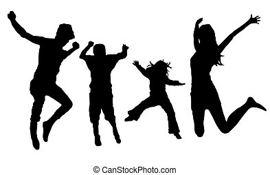 jumping family - silhouette of jumping family isolated on...