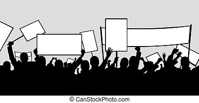picket - illustration of people picketing