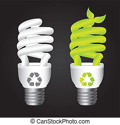 bulb electric with recycle sign over black background....