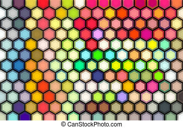 isometric 3d render of hexagon in multiple bright colors