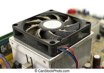 Side of dusty CPU fan