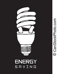 energy saving - black and white bulb electric, energy saving...