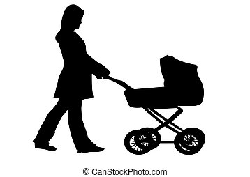 stroller - silhouette of a woman pushing a stroller