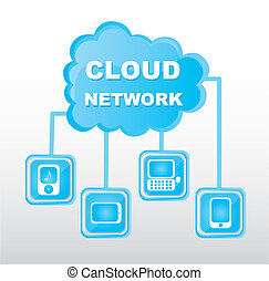 cloud network - blue cloud network with icons background....