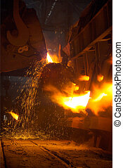 The metallurgical plant - melting metal in a foundry