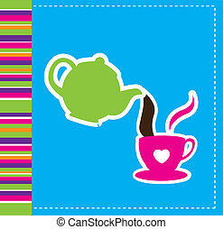 kettle and coffee cup - cute kettle and coffee cup over blue...