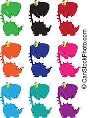dino cartoon funny color