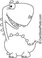 dino cartoon funny outlined