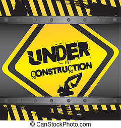 under construction sign with frames background vector