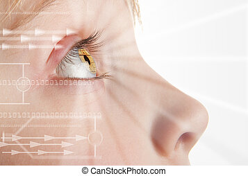 Iris scan identity - Iris scan, biometric scanning of eye...
