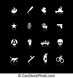 Protest icons isolated on black