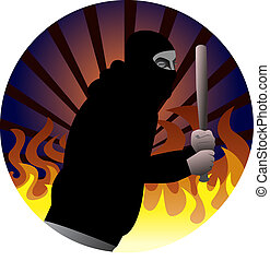 Protest participant with baseball bat, vector illustration