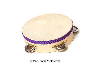 Tambourine with white background
