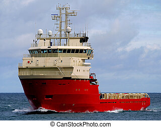 Platform Supply Ship A - Offshore supply ship underway at...