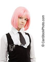 agréable, écolière, rose, cheveux