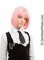 encantador, colegiala, rosa, pelo