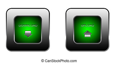 download and upload button set for web site over white...