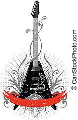 guitar with pattern and ribbon - Vector image guitar with...