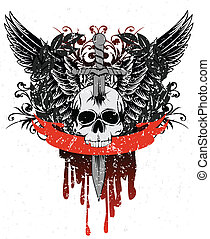 skull with wings, patterns and ribb - Vector image skull...