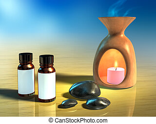 Aromatherapy themed composition including some stones and a...